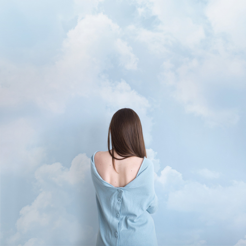 Cloudy blue panoramic wallpaper