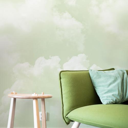 Cloudy green panoramic wallpaper