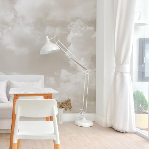 Cloudy grey panoramic wallpaper