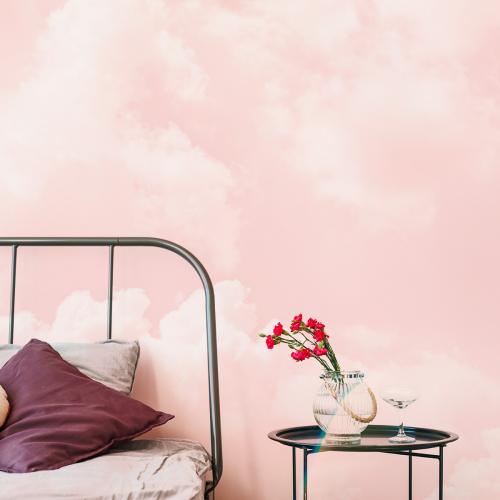 Cloudy pink panoramic wallpaper