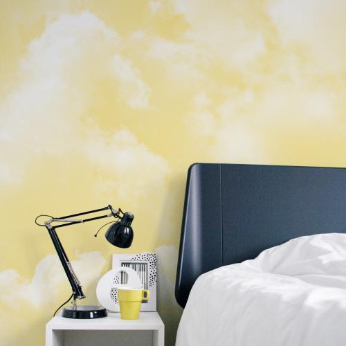 Cloudy yellow panoramic wallpaper
