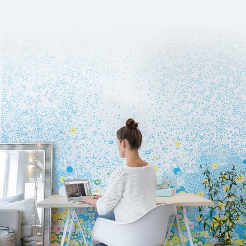 Papier-peint Champs de fleurs de printemps bleu