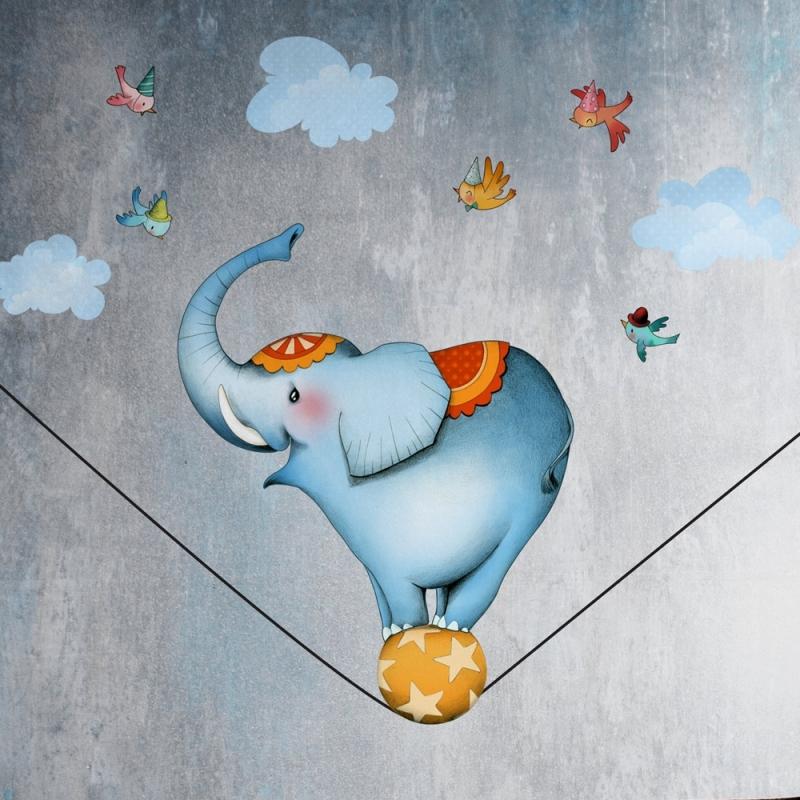Chambre En Dessin : Planche éléphant funambule sticker