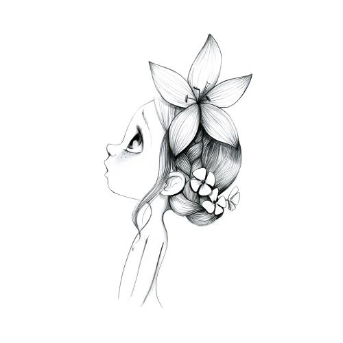Canvas Wild girl 02-bw