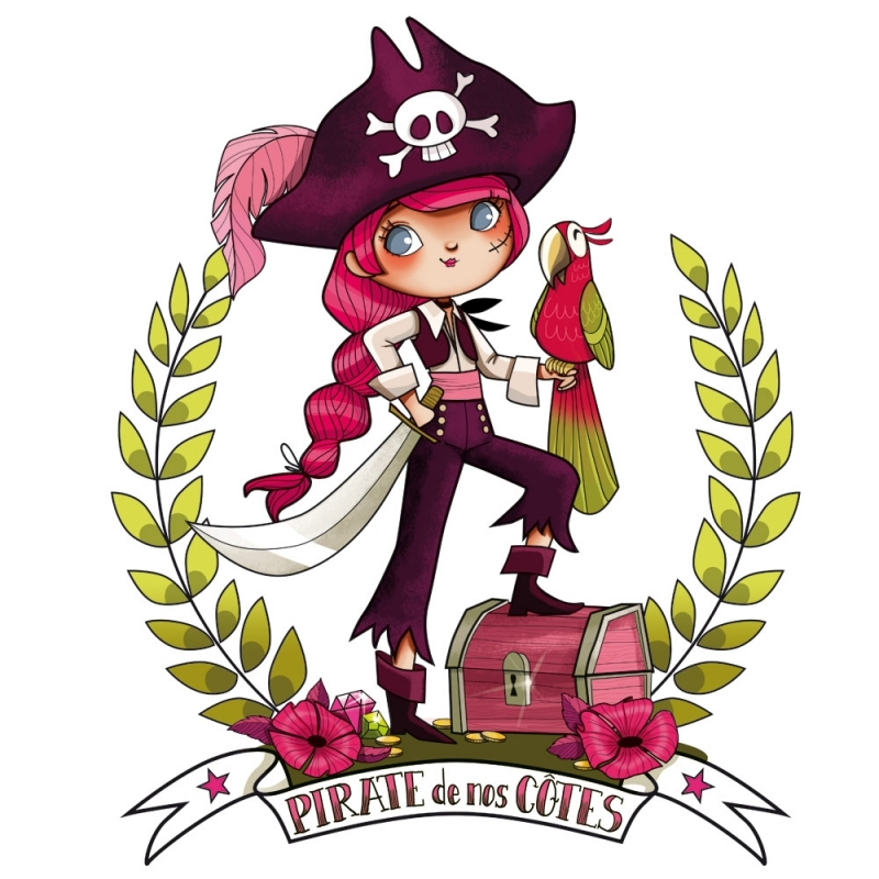 Stickers pirate girl - Coloriage fille pirate ...