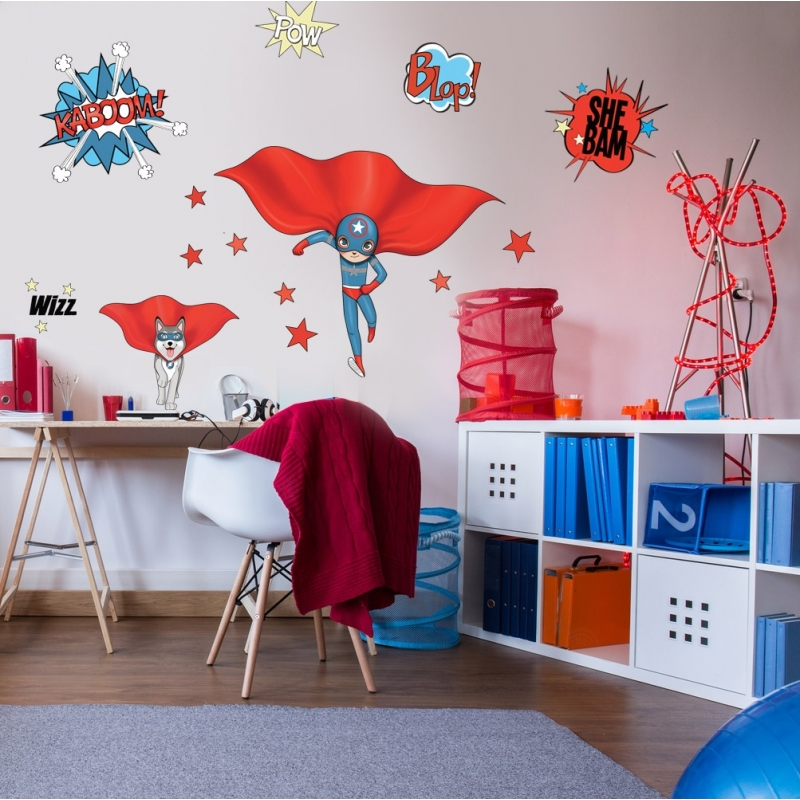 Stickers super h ros blue and dog - Deco chambre garcon super heros ...
