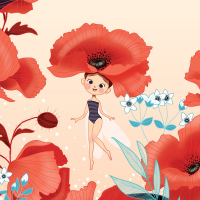 Poppies and Fairies Wallpaper