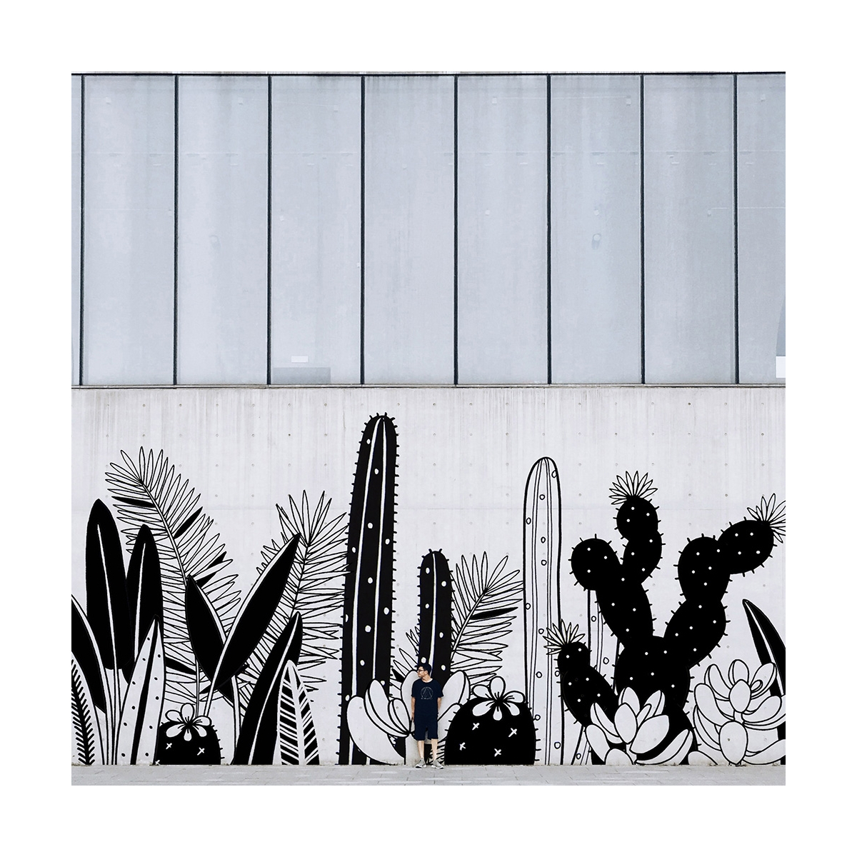 Cactus mural fresco