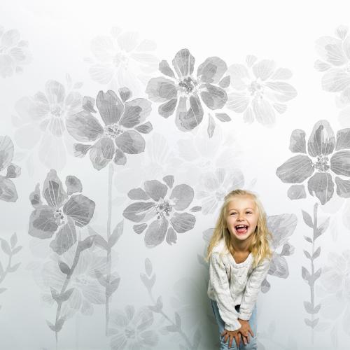 Papier peint Poésie de Fleurs gris