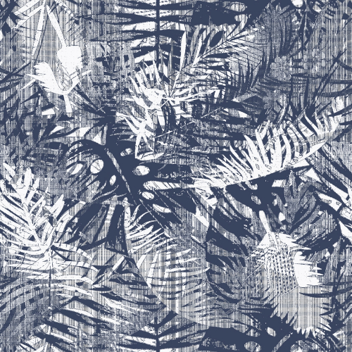Papier-peint Ext Tropical blue leaves