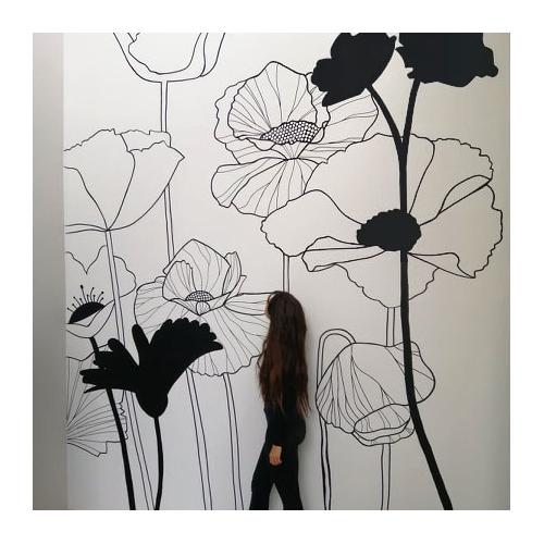 Fresque murale Fleurs...