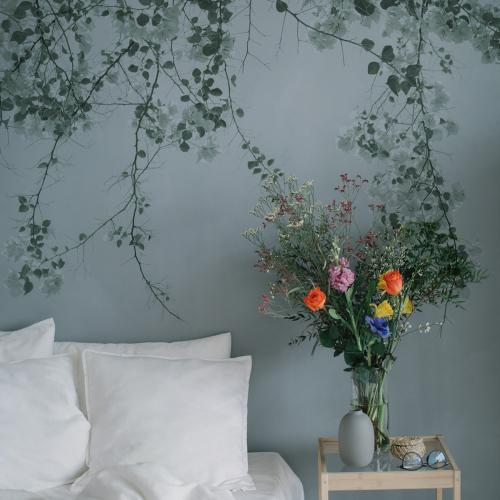 Panoramic wallpaper Blurry green