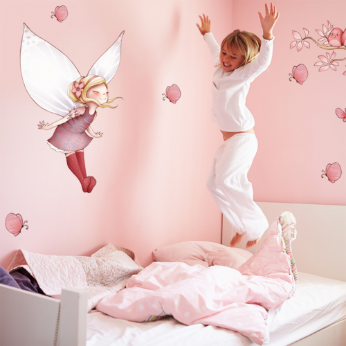 Flying Fairy and butterflies wall stickers
