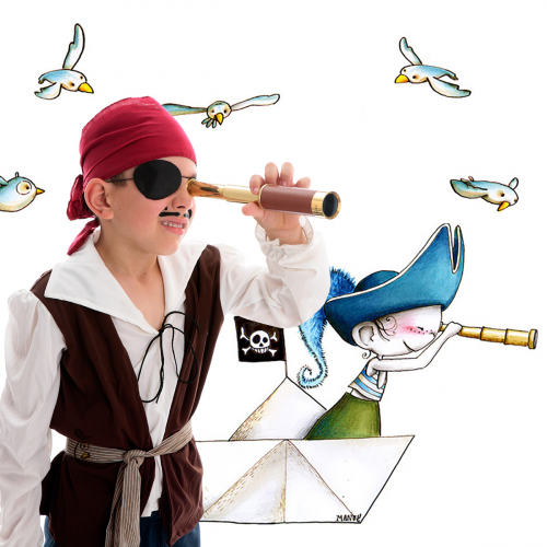 Pirate on the watch wall stickers