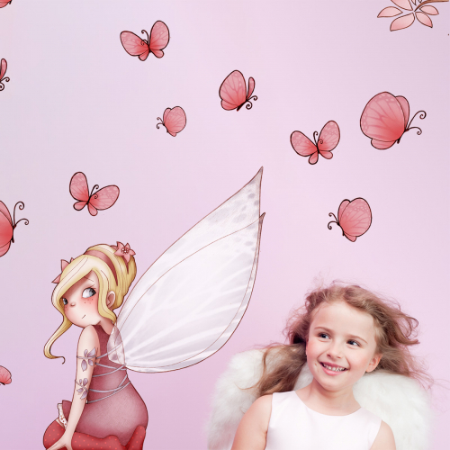 Fairy sit down and butterflies wall stickers