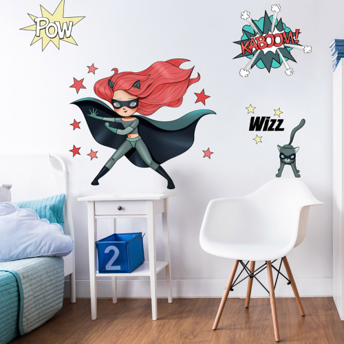 Super Heroes Red and Cat wall stickers