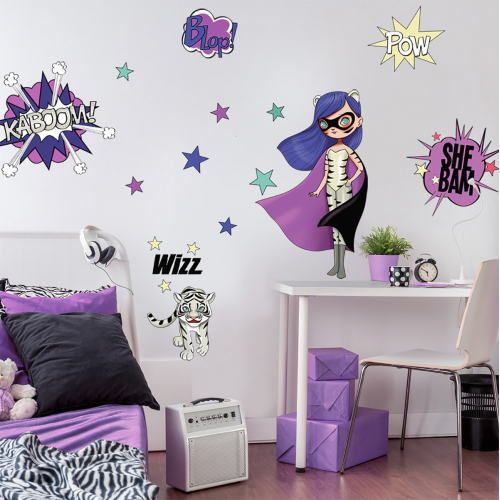 Super Heroes Purple and Tiger wall stickers