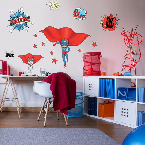 Super Heroes Blue and Dog wall stickers