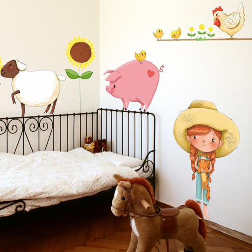 Little girl on the farm wall stickers