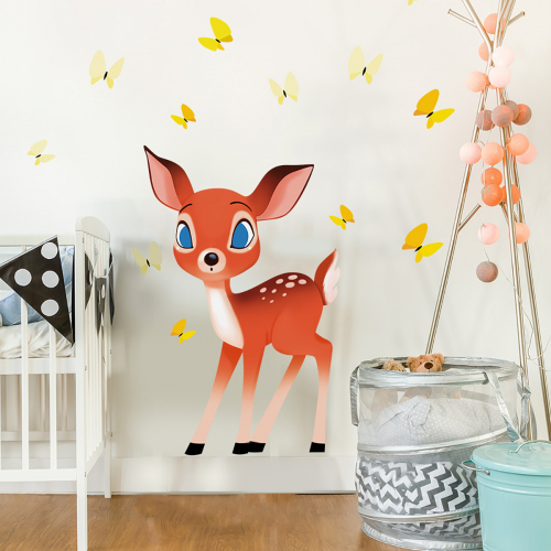 Fawn and butterflies wall stickers