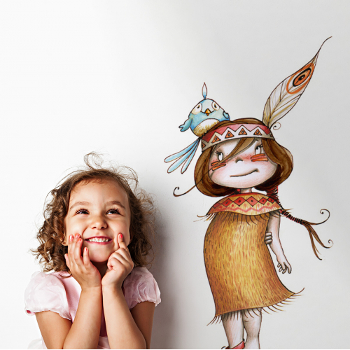 Little indian girl wall stickers