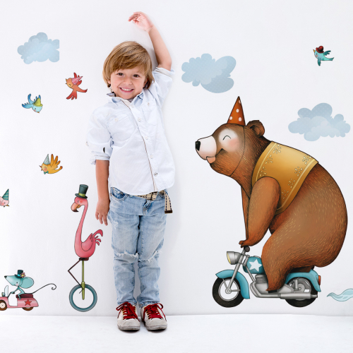 Menagerie in free wheel wall stickers