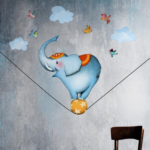 Stickers éléphant funambule