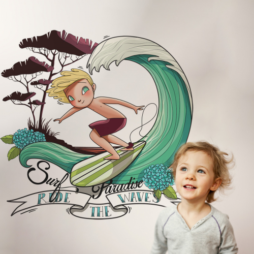 Beach paradise boy wall stickers