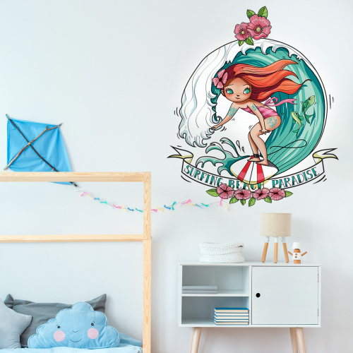 Beach paradise girl wall stickers